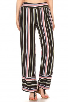 MUSTARD/GREY/WHITE MULTI STRIPE BORDER PRINT STRAIGHT LEG PANTS#8SLP01-BD16