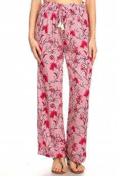 DUSTY PINK/DARK RED FLORAL PRINT PAPER BAG WAIST STRAIGHT LEG PANT#8SLP05-03
