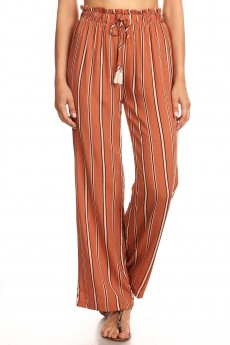 CARM/WHITE/BLACK STRIPE PRINT PAPER BAG WAIST STRAIGHT LEG PANTS #8SLP05-04