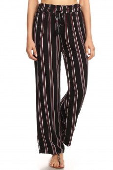 BLACK/MULTI STRIPE PRINT PAPER BAG WAIST STRAIGHT LEG PANTS#8SLP05-05