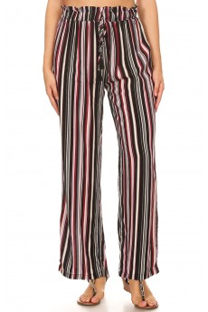 MULTI STRIPE PRINT PAPER BAG WAIST STRAIGHT LEG PANTS#8SLP05-06