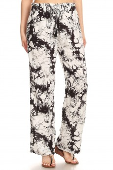 BLACK/WHITE TIE DYE PRINT PAPER BAG WAIST STRAIGHT LEG PANTS#8SLP05-07
