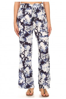NAVY/WHITE TIE DYE PRINT PAPER BAG WAIST STRAIGHT LEG PANTS #8SLP05-08