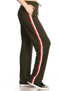SPORT STRAIGHT TRACK PANTS W/ SIDE STRIPES TWILL TAPE#8STP03-08
