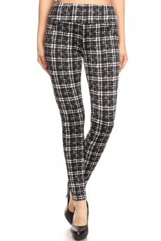 BLACK/WHITE ABSTRACT PLAID PRINT TREGGING WITH BACK POCKETS#8TRG02-02