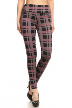 BLACK/RED PLAID PRINT TREGGING WITH BACK POCKETS#8TRG02-03