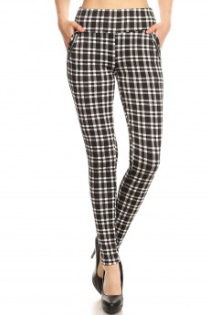 PLAID PRINT TREGGING WITH ZIPPER DETAIL#8TRG03-10
