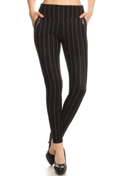BLACK/DARK GREY STRIPE PRINT TREGGING WITH ZIPPER DETAIL#8TRG03-17