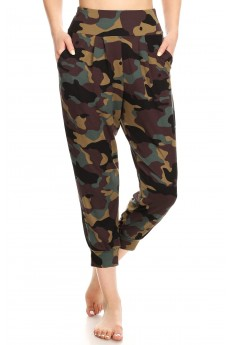 BLACK/BROWN/GREEN CAMO PRINT HAREM CROPPED LOOSE FIT JOGGER#8TRK04-CM01