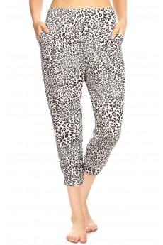 WHITE/BLACK/GREY ANIMAL PRINT HAREM CROPPED LOOSE FIT JOGGER#8TRK04-SK01