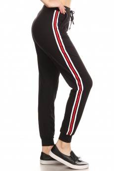 BLACK CONTRAST WB & CUFF JOGGER W/ SIDE STRIPE TWILL TAPE#8TRK09-06