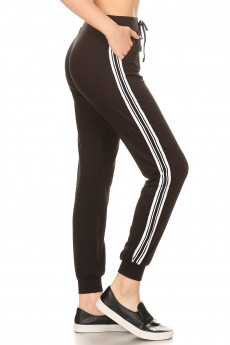 BLACK CONTRAST WB & CUFF JOGGER W/ SIDE STRIPE TWILL TAPE#8TRK09-11