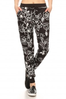 BLACK/WHITE FLORAL PRINT  BRUSH POLY JOGGER#8TRK19-06