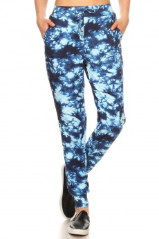 NAVY/LIGHT BLUE TIE DYE PRINT BRUSH POLY JOGGER#8TRK19-15