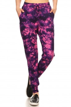 PURPLE/PINK TIE DYE PRINT BRUSH POLY JOGGER#8TRK19-16