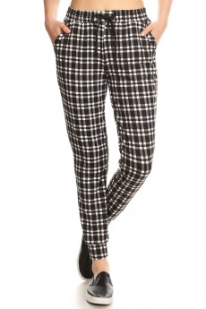 PLAID PRINT JOGGER WITH SHOE LACE TIE #8TRK36-01