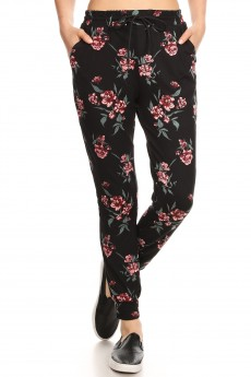BLACK/RED/GREEN FLORAL PRINT JOGGER WITH SHOE LACE TIE #8TRK36-07