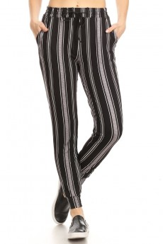 BLACK/WHITE/GREY STRIPE PRINT JOGGER WITH SHOE LACE TIE#8TRK36-SP01A