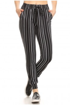 BLACK/WHITE STRIPE PRINT JOGGER WITH SHOE LACE TIE#8TRK36-SP14