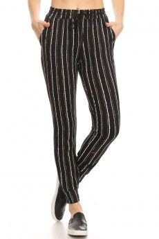 BLACK/WHITE/YELLOW STRIPE PRINT JOGGER WITH SHOE LACE TIE#8TRK36-SP22B