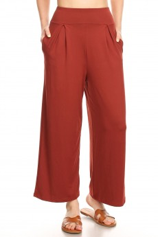 HIGH WAIST BRUSHED PLOY CULOTTES W/ FRONT PLEATS #9CLT02