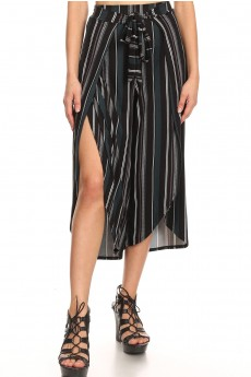 BLACK/OLIVE/WHITE STRIPE PRINT BRUSH POLY WRAP CULOTTES#9CWR02-SP05