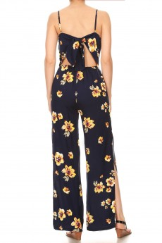 NAVY/YELLOW FLORAL PRINT RAYON JUMPSUIT W/ OPEN TIE BACK#9JPS03-01