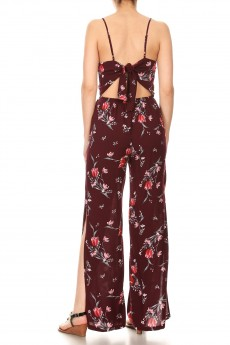 WNE/RED FLORAL PRINT RAYON JUMPSUIT W/ OPEN TIE BACK#9JPS03-06