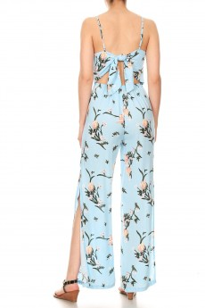 LIGHT BLUE/RED FLORAL PRINT RAYON JUMPSUIT W/ OPEN TIE BACK#9JPS03-08