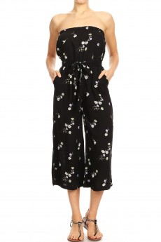 BLACK/WHITE FLORAL PRINT RAYON TUBE TOP CROPPED JUMPSUIT#9JPS04-01