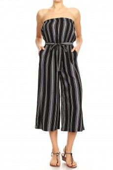 BLACK/WHITE/DEN STRIPE PRINT RAYON TUBE TOP CROPPED JUMPSUIT#9JPS04-05