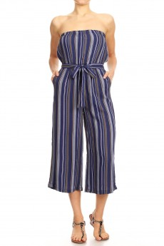 NAVY/IPNK/WHITE STRIPE PRINT RAYON TUBE TOP CROPPED JUMPSUIT#9JPS04-08