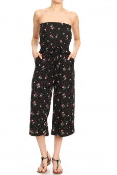 BLACK/WHITE/RED POLKA DOT FLORAL PRINT TUBE TOP CROPPED JUMPSUIT#9JPS04-CV15