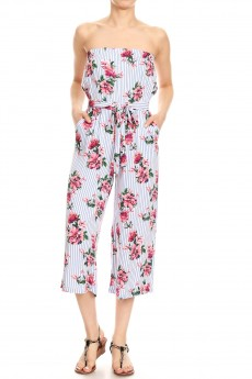 CORAL/BLUE FLORAL PRINT RAYON TUBE TOP CROPPED JUMPSUIT#9JPS04-FL34A
