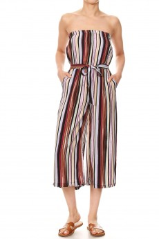 MULTI COLOR STRIPE PRINT RAYON TUBE TOP CROPPED JUMPSUIT#9JPS04-SP20