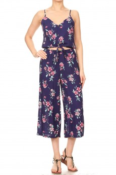 NAVY/PINK TROPICAL FLORAL PRINT CROPPED JUMPSUIT W/ FRONT TIE#9JPS05-05