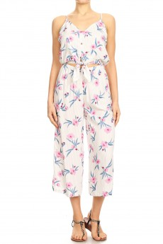 WHITE/PINK TROPICAL FLORAL PRINT CROPPED JUMPSUIT W/ FRONT TIE#9JPS05-06