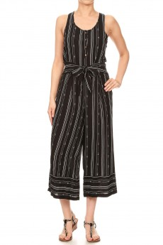 BLACK/WHITE TRIBAL BORDER PRINT BUTTONED TANK CROPPED JUMPSUIT#9JPS12-04