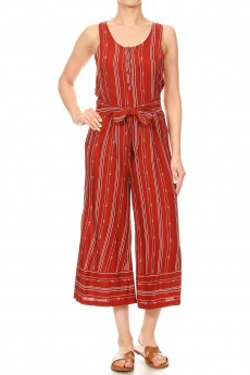 RUS/WHT TRIBAL BORDER PRINT BUTTONED TANK CROPPED JUMPSUIT#9JPS12-05