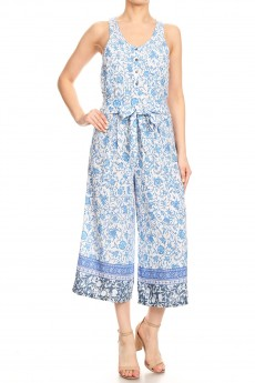 WHITE/BLUE FLORAL BORDER PRINT BUTTONED TANK CROPPED JUMPSUIT#9JPS12-08