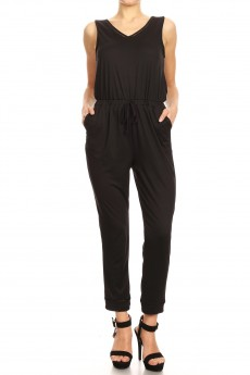 BACK OVERLAP W/ EYELET TRIM CROPPED LENGTH JUMPSUIT#9JPS15