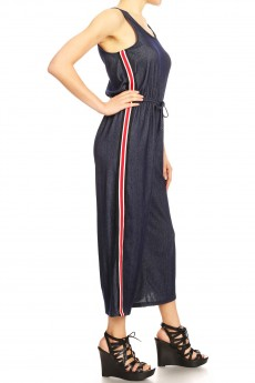 NAVY DENIM TANK TOP CROP LENGTH JUMPSUIT W/ SIDE STRIPE TAPE#9JPS21