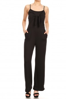 BOW TIE FRONT JUMPSUIT W/ BACK SMOCKING#9JPS37