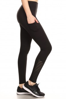 LEGGING W/ CONTRAST STRIPED MESH PANELS#9L04