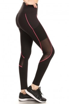 HIGH WAIST LEGGING W/ CONTRAST PIPING AND MESH#9L13