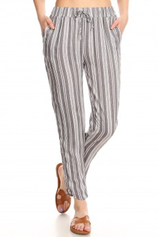 HEATHER GREY/WHITE RAYON STRIPE PRINT DOLPHIN HEM CROPPED PANTS#9PNT01-SP07