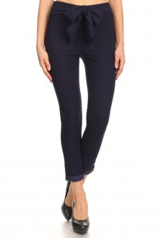 KNIT TWILL SKINNY CROPPED PANTS W/ SASH#9PNT05