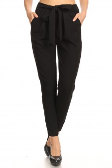 SEMI HAREM TWILL KNIT PANTS W/ FRONT SELF TIE#9PNT13