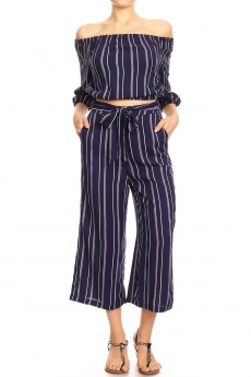 NAVY/PINK STRIPE PRINT RAYON OFF SHOULDER CULOTTES SET#9SET01-SP02A