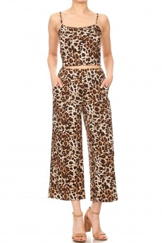 BROWN/BLACK/WHITE ANIMAL PRINT CROPPED CAMI TOP & STRAIGHT PANT SET#9SET03-SK02